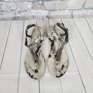 Guess Jumper T-Strap Sandal Crystals Size 7